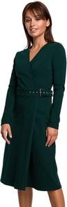 Zielona sukienka BeWear midi z dekoltem w kształcie litery v