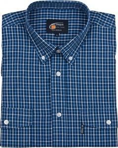 Granatowa koszula Mr.unique z krótkim rękawem z bawełny