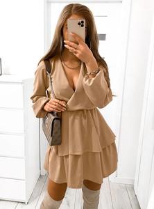 Brązowa sukienka Pakuten z długim rękawem mini
