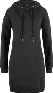 Czarna sukienka bonprix bpc bonprix collection z długim rękawem w stylu casual z dresówki