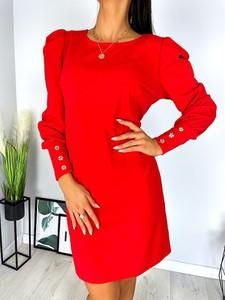 Czerwona sukienka ModnaKiecka.pl w stylu klasycznym prosta mini