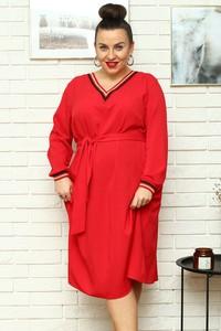 Czerwona sukienka KARKO z długim rękawem z tkaniny