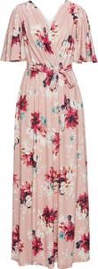 Różowa sukienka bonprix BODYFLIRT kopertowa z dżerseju midi