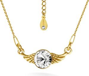 Hebe Naszyjnik skrzydła z kryształem srebro złocone - basic