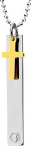 Silverado Niezwykły naszyjnik ze stali szlachetnej z krzyżem w kolorze złotym 77-WA400G