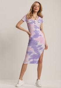 Fioletowa sukienka Renee z krótkim rękawem midi