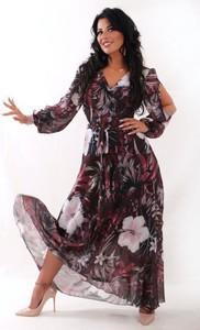 Sukienka Oscar Fashion z szyfonu z dekoltem w kształcie litery v