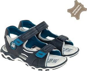 Granatowe buty dziecięce letnie Cool Club dla chłopców ze skóry