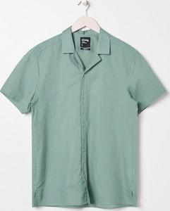 Turkusowa koszula Sinsay z klasycznym kołnierzykiem z krótkim rękawem