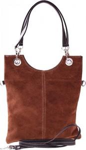 Brązowa torebka GENUINE LEATHER w stylu casual ze skóry na ramię