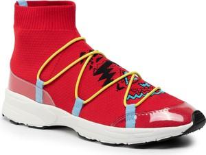 Sneakersy Desigual na platformie sznurowane z nadrukiem