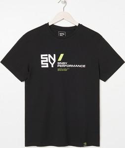 Czarny t-shirt Sinsay z nadrukiem z krótkim rękawem z bawełny