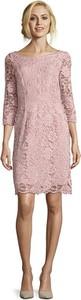 Różowa sukienka Vera Mont mini z okrągłym dekoltem z długim rękawem
