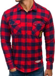 Czerwona koszula Denley z długim rękawem z bawełny