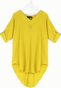 Żółta bluzka Freeshion w stylu casual z krótkim rękawem