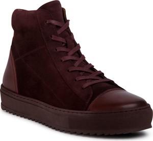 Czerwone buty zimowe eobuwie.pl sznurowane