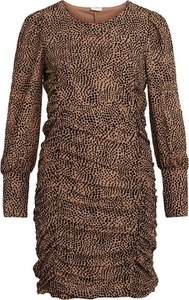 Brązowa sukienka Vila mini w stylu casual z okrągłym dekoltem