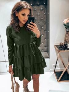 Zielona sukienka magmac.pl oversize mini z długim rękawem