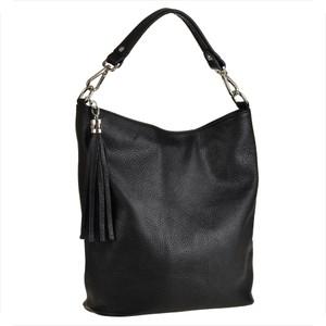 Czarna torebka Borse in Pelle na ramię w wakacyjnym stylu duża
