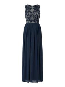 Granatowa sukienka Lace & Beads z szyfonu bez rękawów rozkloszowana