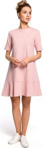 Różowa sukienka MOE z krótkim rękawem z dzianiny z okrągłym dekoltem