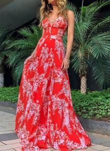 Sukienka Cikelly z dekoltem w kształcie litery v maxi na ramiączkach