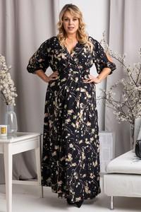 Sukienka KARKO z tkaniny w stylu casual z dekoltem w kształcie litery v