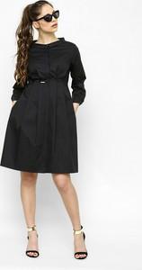 Czarna sukienka Freeshion z bawełny z długim rękawem mini