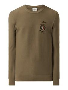 Zielony sweter Aeronautica Militare z okrągłym dekoltem