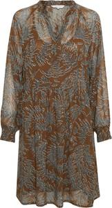 Brązowa sukienka Part Two w stylu casual mini z długim rękawem