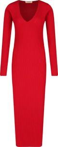 Czerwona sukienka Twinset z długim rękawem