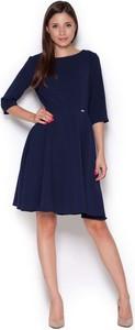 Granatowa sukienka Figl mini z okrągłym dekoltem