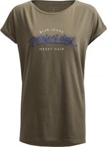 T-shirt Outhorn w stylu casual z krótkim rękawem z okrągłym dekoltem