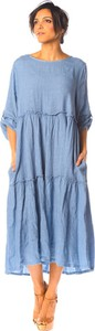 Niebieska sukienka La Compagnie Du Lin w stylu casual dla puszystych z długim rękawem