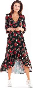 Sukienka Awama asymetryczna maxi z długim rękawem