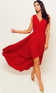 Czerwona sukienka Marconifashion z szyfonu