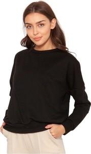 Czarna bluzka Lanti z długim rękawem z okrągłym dekoltem w stylu casual