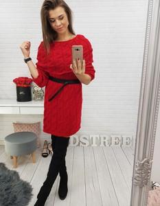 Sukienka Dstreet midi z okrągłym dekoltem z długim rękawem