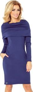 Niebieska sukienka NUMOCO z długim rękawem z golfem