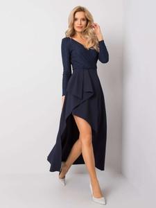 Czarna sukienka Sheandher.pl z długim rękawem asymetryczna z dekoltem w kształcie litery v