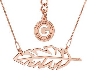 GIORRE NASZYJNIK PIÓRKO ORIGAMI CELEBRYTKA SREBRO 925 : Kolor pokrycia srebra - Pokrycie Różowym 18K Złotem