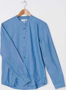 Niebieska koszula House z długim rękawem ze stójką z jeansu