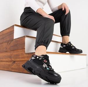 Czarne buty sportowe Royalfashion.pl sznurowane
