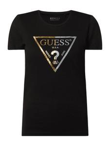 Czarna bluzka Guess z bawełny z okrągłym dekoltem z krótkim rękawem