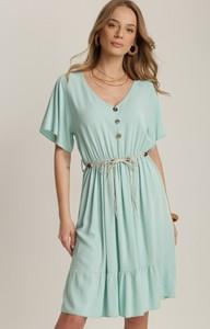 Sukienka Renee trapezowa z krótkim rękawem z dekoltem w kształcie litery v