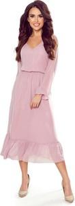 Sukienka NUMOCO z dekoltem w kształcie litery v z szyfonu midi