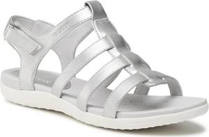 Srebrne sandały Geox w stylu casual