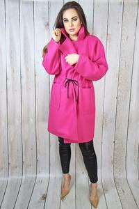 Różowy płaszcz hitdnia.com.pl w stylu casual z wełny