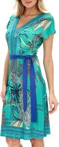 Niebieska sukienka Smashed Lemon w stylu casual z dekoltem w kształcie litery v z krótkim rękawem