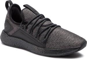 Czarne buty sportowe Puma w sportowym stylu sznurowane ze skóry ekologicznej
